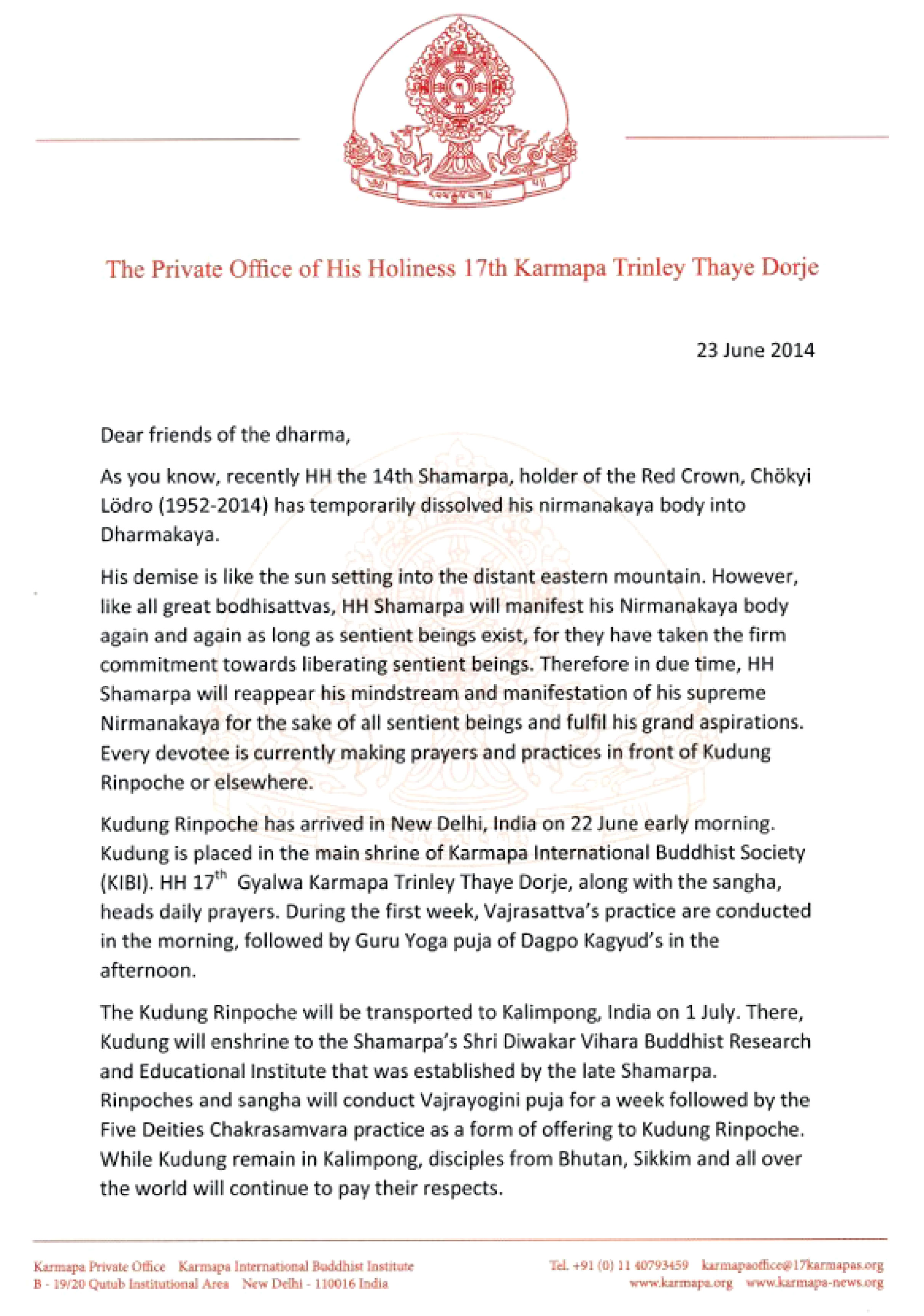 Message from The Private Office of His Holliness 17th Karmapa Trinley Thaye Dorje regarding Kudung Rinpoche - Page 1