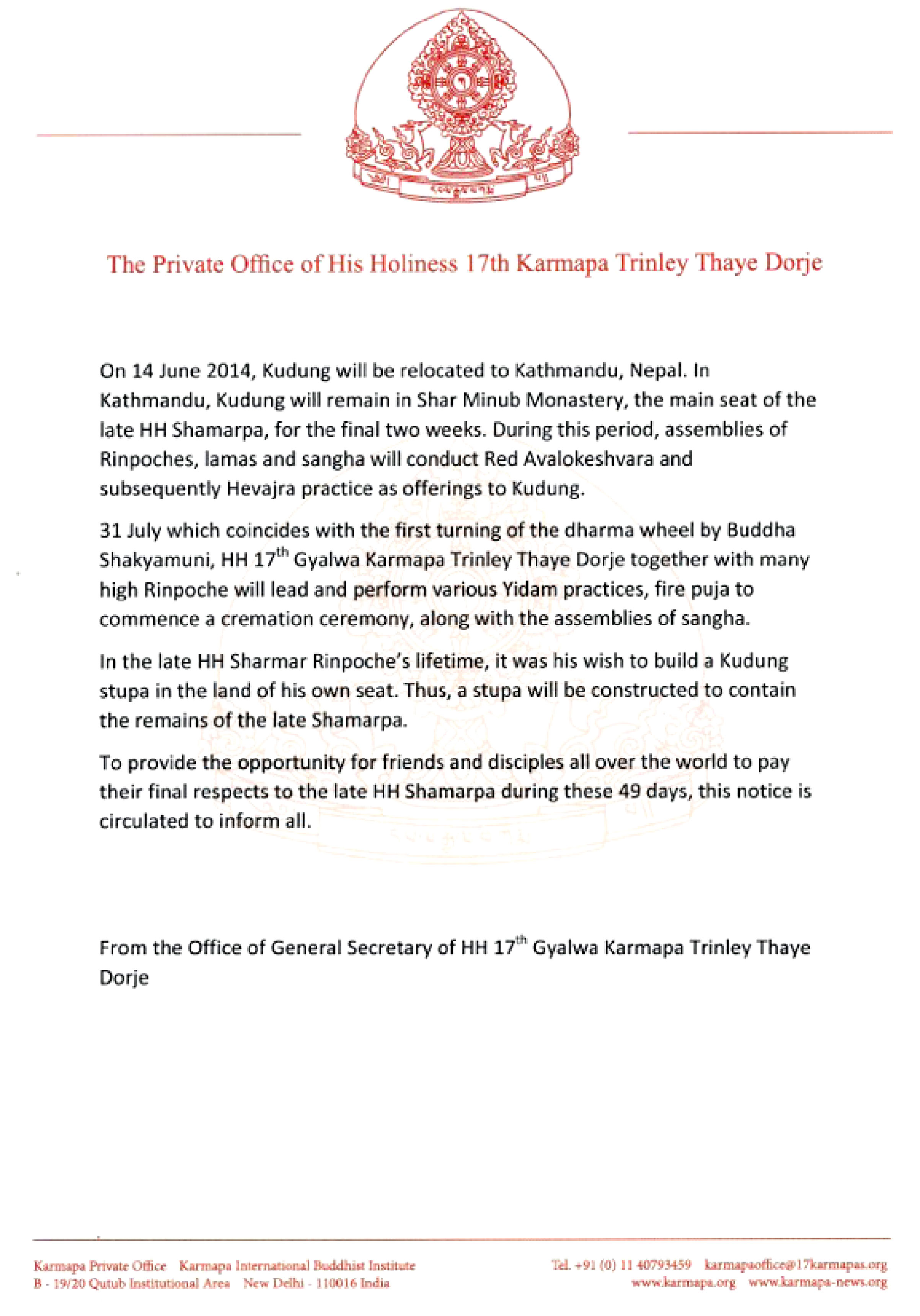 Message from The Private Office of His Holliness 17th Karmapa Trinley Thaye Dorje regarding Kudung Rinpoche - Page 2